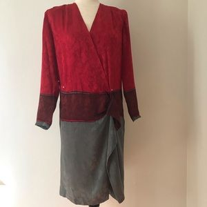 Silk Studio Vintage 80's style Red and Grey Dress